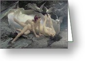 Nymphs Greeting Cards - The Naiads Greeting Card by Gioacchino Pagliei