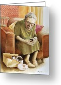 Elderly Painting Greeting Cards - The Nanny Greeting Card by Shelly Wilkerson