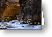 Sacred Earth Greeting Cards - The Narrows Time And The River Flowing Greeting Card by Bob Christopher