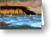 Sacred Earth Greeting Cards - The Narrows Virgin River Greeting Card by Bob Christopher