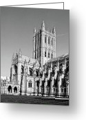Washington Cathedral Greeting Cards - The National Cathedral in Washington DC Greeting Card by Brendan Reals