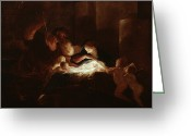 Nativities Greeting Cards - The Nativity Greeting Card by Pierre Louis Cretey or Cretet