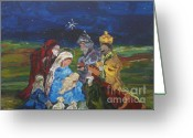 Jesus Art Painting Greeting Cards - The Nativity Greeting Card by Reina Resto