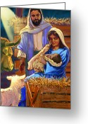 Family Pastels Greeting Cards - The Nativity Greeting Card by Valerian Ruppert