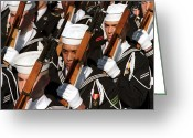 Firearms Photo Greeting Cards - The Navy Ceremonial Honor Guard Greeting Card by Stocktrek Images