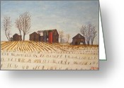 Pa Barns Greeting Cards - The neighboring corn field Greeting Card by Bibi Snelderwaard Brion
