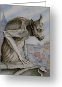 Gargoyle Greeting Cards - The Nervous Sentry Greeting Card by Sam Sidders