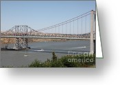 Blue Collar Greeting Cards - The New Alfred Zampa Memorial Bridge and The Old Carquinez Bridge . 5D16734 Greeting Card by Wingsdomain Art and Photography