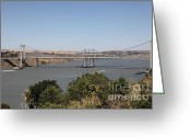 Blue Collar Greeting Cards - The New Alfred Zampa Memorial Bridge and The Old Carquinez Bridge . 5D16737 Greeting Card by Wingsdomain Art and Photography