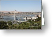 Blue Collar Greeting Cards - The New Alfred Zampa Memorial Bridge and The Old Carquinez Bridge . 5D16745 Greeting Card by Wingsdomain Art and Photography