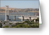 Blue Collar Greeting Cards - The New Alfred Zampa Memorial Bridge and The Old Carquinez Bridge . 5D16747 Greeting Card by Wingsdomain Art and Photography