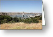 Blue Collar Greeting Cards - The New Alfred Zampa Memorial Bridge and The Old Carquinez Bridge . 5D16748 Greeting Card by Wingsdomain Art and Photography