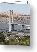 Blue Collar Greeting Cards - The New Alfred Zampa Memorial Bridge and The Old Carquinez Bridge . 5D16749 Greeting Card by Wingsdomain Art and Photography