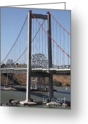 Blue Collar Greeting Cards - The New Alfred Zampa Memorial Bridge and The Old Carquinez Bridge . 5D16811 Greeting Card by Wingsdomain Art and Photography