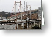 Highways Greeting Cards - The New Alfred Zampa Memorial Bridge and The Old Carquinez Bridge . 7D8915 Greeting Card by Wingsdomain Art and Photography