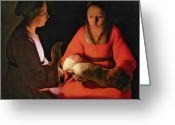 Kid Greeting Cards - The New Born Child Greeting Card by Georges de la Tour