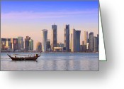Arabia Greeting Cards - The new Doha Greeting Card by Paul Cowan