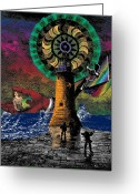 Mythology Surrealism Greeting Cards - The New Pharos Greeting Card by Eric Edelman