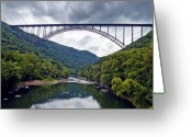 Structure Photo Greeting Cards - The New River Gorge Bridge in West Virginia Greeting Card by Brendan Reals