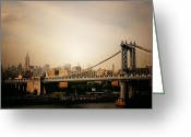 Nyc Cityscape Greeting Cards - The New York City Skyline and Manhattan Bridge at Sunset Greeting Card by Vivienne Gucwa