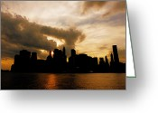 Manhattan Sunset Greeting Cards - The New York City Skyline At Sunset Greeting Card by Vivienne Gucwa