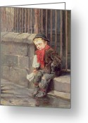 Kid Painting Greeting Cards - The News Boy Greeting Card by Ralph Hedley