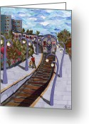 Train Tapestries - Textiles Greeting Cards - The Next Stop Is... Greeting Card by Marina Gershman