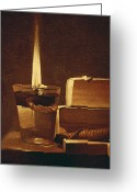 Pre-19thc Greeting Cards - The Night Light Greeting Card by Georges de la Tour