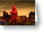 Buildings Greeting Cards - The Night Of The Lobster Man Greeting Card by Bob Orsillo