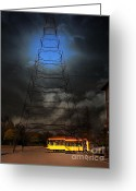 Old Street Photo Greeting Cards - The Night The Old San Jose Railroads Cablecar Trolley 143 Reappeared . 7D12959 Greeting Card by Wingsdomain Art and Photography