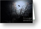 Full Moons Greeting Cards - The Night The Raven Appeared In My Dream . 7D12631 Greeting Card by Wingsdomain Art and Photography