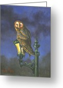 Owl Greeting Cards - The Night Watch Greeting Card by Jeff Brimley