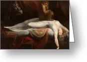 Surreal Tapestries Textiles Greeting Cards - The Nightmare Greeting Card by Henry Fuseli