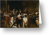 Litho Greeting Cards - The Nightwatch Greeting Card by Rembrandt