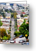 Big Cities Greeting Cards - The Noe Street Hill in San Francisco . 7D7559 Greeting Card by Wingsdomain Art and Photography