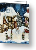 Elves Greeting Cards - The North Pole Greeting Card by Carrie Joy Art