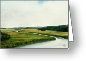Tidal River Greeting Cards - The North River Greeting Card by Paul Gaj