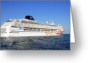Trips Greeting Cards - The Norwegian Sun is leaving Greeting Card by Susanne Van Hulst