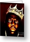 Big Poppa Greeting Cards - The Notorious B.I.G. - Biggie Smalls Greeting Card by Paul Ward