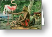 Feeding Painting Greeting Cards - The Nubian Greeting Card by Georgio Marcelli
