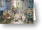 Pram Greeting Cards - The Nursery Greeting Card by Fritz von Uhde