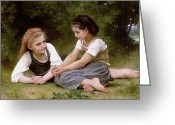 Adolphe Greeting Cards - The Nut Gatherers Greeting Card by William-Adolphe Bouguereau