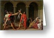 Soldiers Painting Greeting Cards - The Oath of Horatii Greeting Card by Jacques Louis David