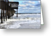 Storm Prints Photo Greeting Cards - The OceanCity MD Pier Greeting Card by Tamera James