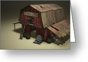 Cinema 4d Greeting Cards - The Old Barn Greeting Card by Jonathan Chapin