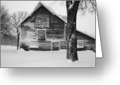 Black And White Barn Greeting Cards - The Old Barn Greeting Card by Julie Lueders