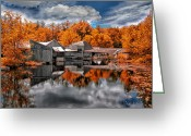 Autumn Art Greeting Cards - The Old Boat House Greeting Card by Bob Orsillo