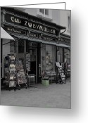 Wien Greeting Cards - The Old Bookstore Greeting Card by Mary Machare
