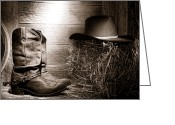Ranching Greeting Cards - The Old Boots Greeting Card by Olivier Le Queinec