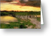 Thomas Moran Greeting Cards - The Old Bridge Over Hook Pond Greeting Card by Thomas Moran